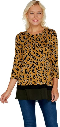 Logo By Lori Goldstein LOGO by Lori Goldstein Printed Knit Top with Contrast Hem