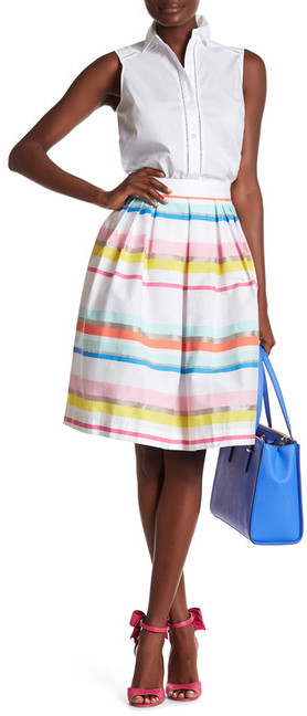 Kate Spade New York Ribbon Cape Stripe Skirt