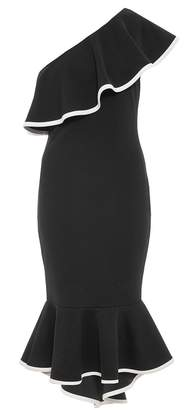 Quiz Black And Cream One Shoulder Dress