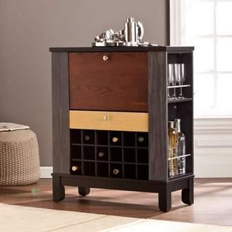 Farah Southern Enterprises Wine/Bar Cabinet, Black/Multi-Tonal