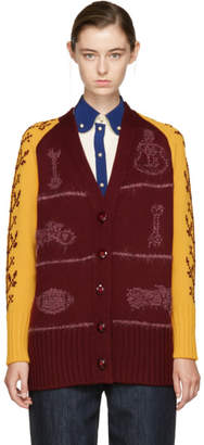 Miu Miu Red and Yellow Oversized Wool Cardigan