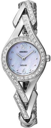 Seiko Womens Silver-Tone Mother-of-Pearl Solar Watch SUP173