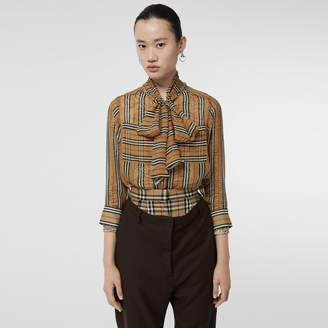 3127e56ae7d9 Burberry Icon Stripe Silk Pussy-bow Blouse