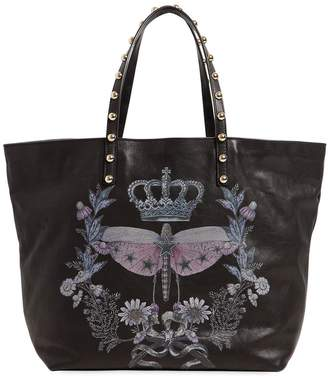 RED Valentino Dragonfly Printed Leather Tote Bag