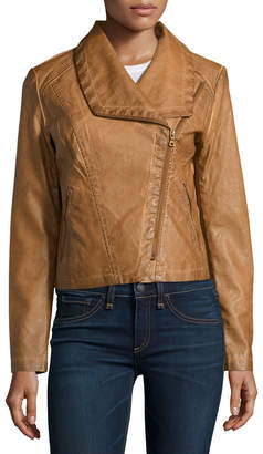 Bagatelle Faux-Leather Asymmetric-Zip Jacket, Saddle