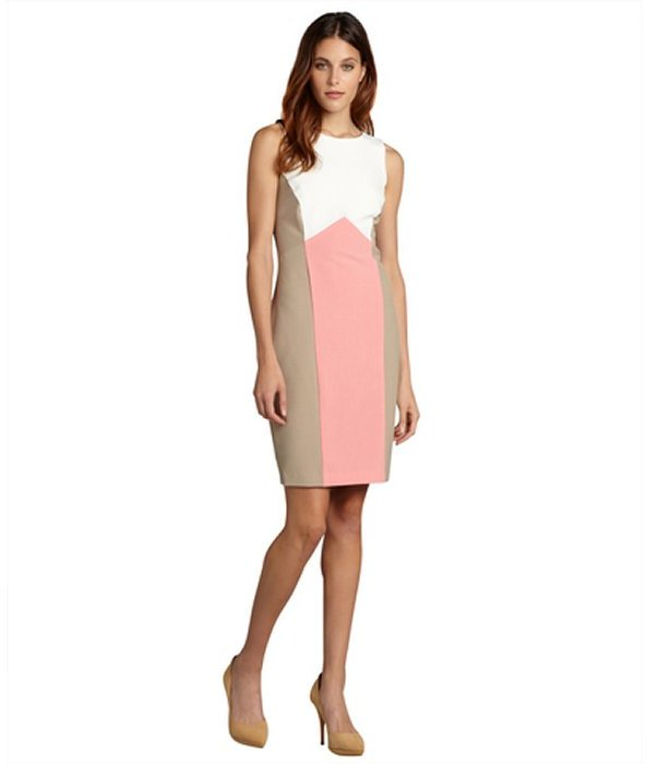 Single Dress white, coral and taupe colorblock sleeveless 'Kate' dress