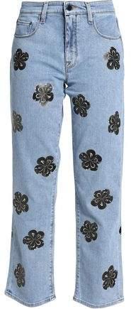 Victoria Victoria Beckham Appliquéd Bootcut Jeans