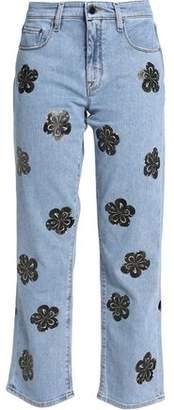Victoria Beckham Victoria Cropped Appliquéd Bootcut Jeans