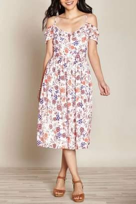 Yumi Swirl Cold-Shoulder Dress