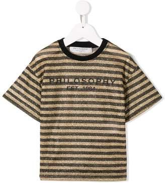 Philosophy di Lorenzo Serafini Kids striped logo print T-shirt