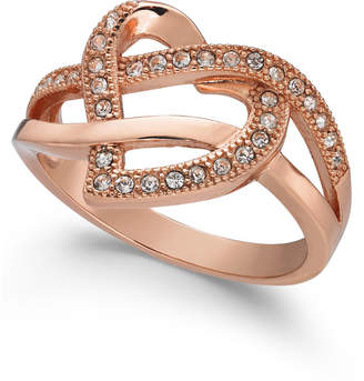 Charter Club Rose Gold-Tone Crystal Swirl Heart Band Ring