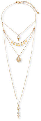 Sequin Three Tiered Necklace w/ Crystals
