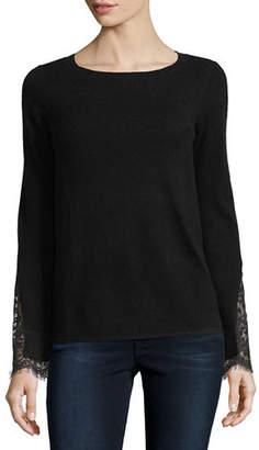 Neiman Marcus Lace-Cuff Cashmere Crewneck Sweater
