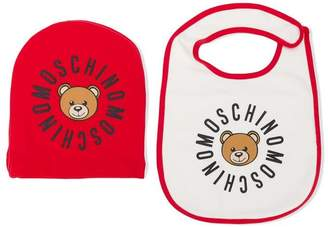 Moschino Kids printed beanie and bib