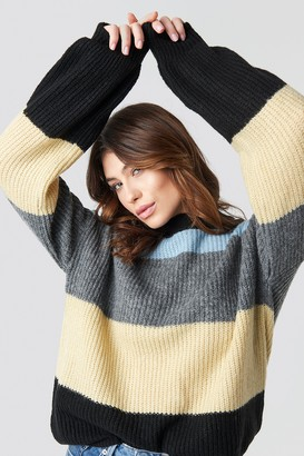 Na Kd Trend Color Striped Balloon Sleeve Knitted Sweater Grey