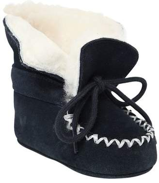 Ralph Lauren Suede & Faux Shearling Boots