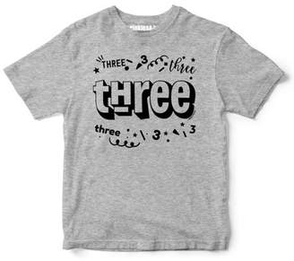 "Sprinkles And Jam ""Three"" Confetti Style Boys 2nd Birthday Boy Shirt Slim Fit Birthday Tshirt"
