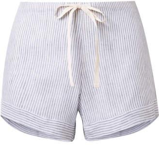 Pour Les Femmes - Striped Linen Pajama Shorts - Gray