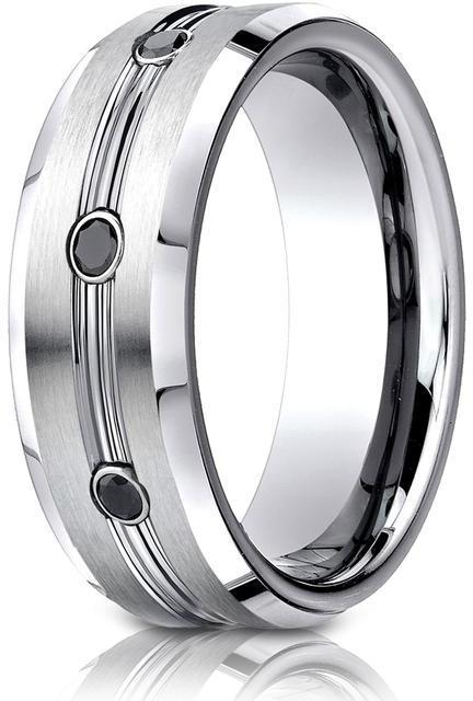 Benchmark 0.20 CT Cobalt 7.5mm Comfort-Fit Three Stone Black Diamond Design Ring