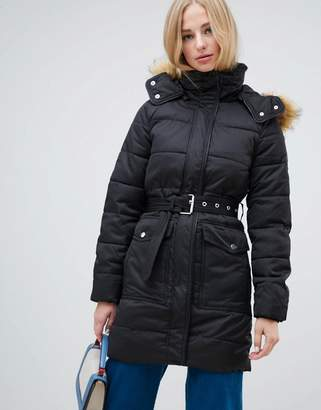 Warehouse longline padded coat with faux fur trim in black