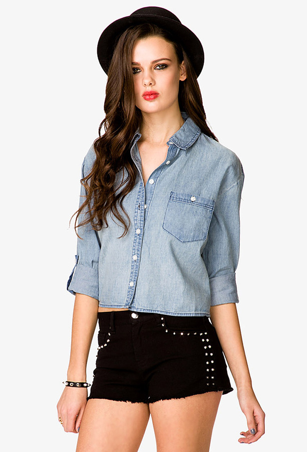 Forever 21 Cropped Chambray Shirt