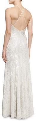 Carmen Marc Valvo Halter-Neck Metallic Burnout Gown, Platinum $1,145 thestylecure.com