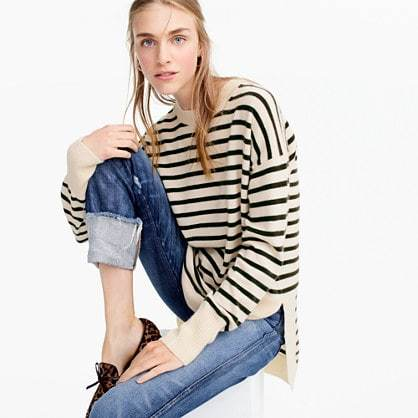 Italian cashmere side-slit tunic in stripes