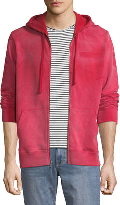 Ovadia & Sons Men's Type-O1 Washed Jersey Zip-Front Hoodie, Red