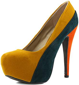 Qupid Women's Penelope-44x Mustard Yellow Velvet Platform Shoes, 10
