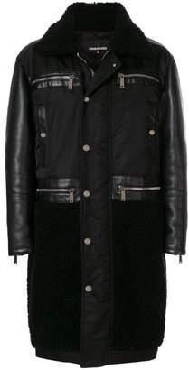 DSQUARED2 mixed texture coat