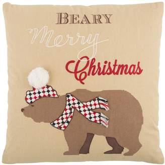 """Rizzy Home """"Beary Merry Christmas"""" Throw Pillow"""