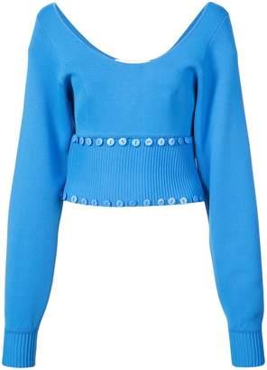 Prabal Gurung button embellished scoop neck sweater
