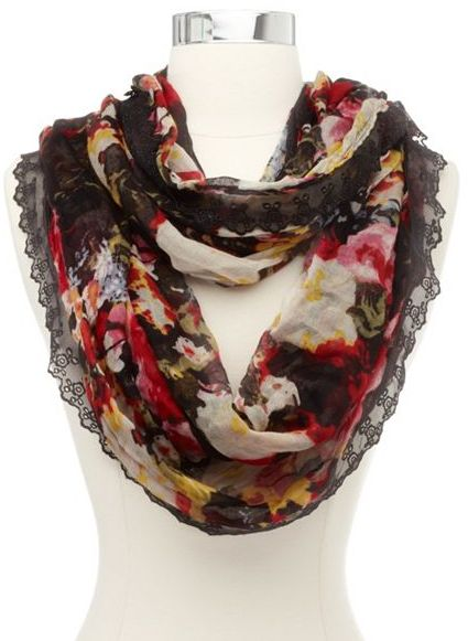 Charlotte Russe Lace Trim Floral Infinity Scarf