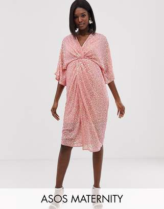 Asos Design DESIGN Maternity scatter sequin knot front kimono midi dress