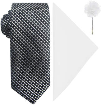 Jf J.Ferrar JF Natte Tie, Pocket Square and Lapel Pin Set