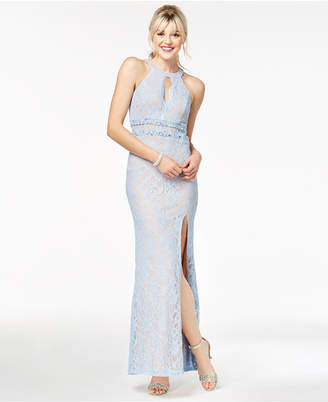 City Studios Juniors' Illusion-Lace Gown, Created for Macy's