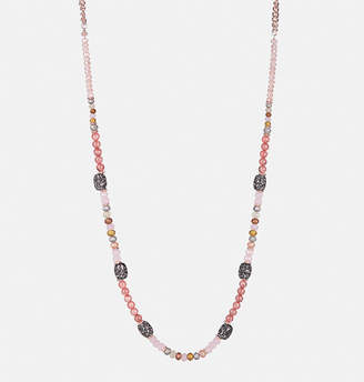 Avenue Rose and Graphite Long Beaded Necklace
