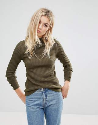 Brave Soul Grace Rib Turtleneck Sweater With Button Cuffs