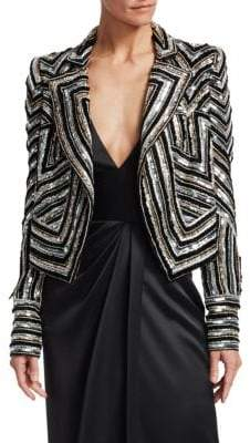 Naeem Khan Embellished Moto Jacket