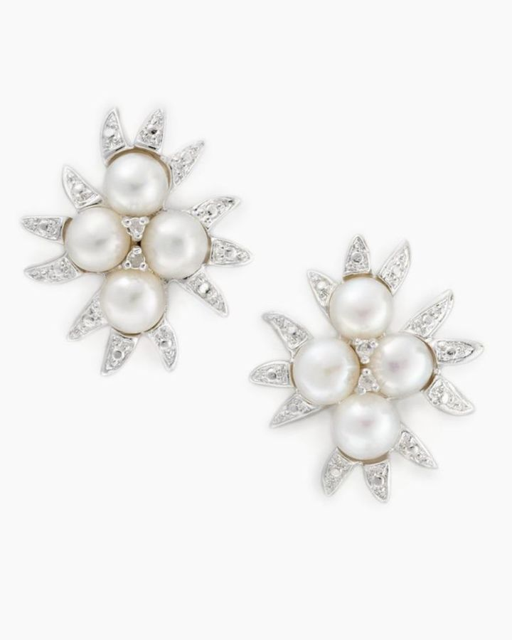 Sterling Silver Cultured Freshwater Pearl & Diamond Accent Cluster  Earrings
