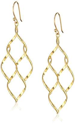 Marquis 14k Over Sterling Silver Twisted Honeycomb Earrings
