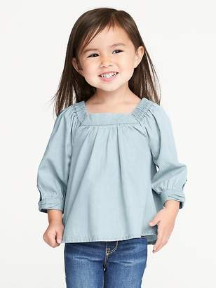 Old Navy Chambray Square-Neck Top for Toddler Girls