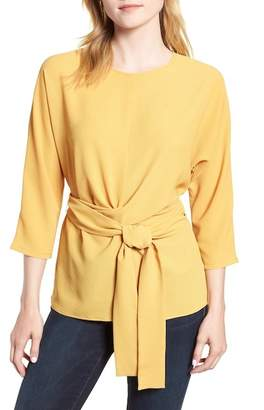 Gibson Dolman Sleeve Tie Back Stretch Crepe Blouse (Regular & Petite)