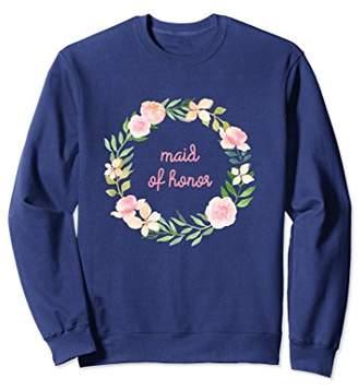 Maid of Honor Matching Bridal Sweatshirt Pink Flowers