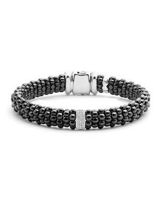 Lagos Black Caviar Bracelet with Diamond Station, Size Medium