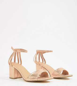 New Look Wide Fit Metallic Block Heel Sandal