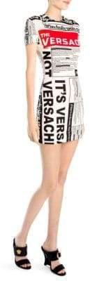 Versace Short-Sleeve News Bodycon Dress