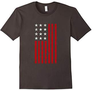Vertical American Flag Patriot T-Shirt With Distressed Flag