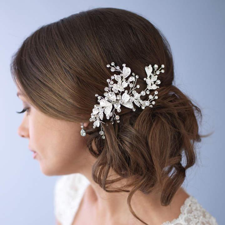 Etsy Floral Bridal Hair Clip, Rhinestone Bridal Hair Clip,Bridal Hair Accessory, Silver Wedding Hair Clip