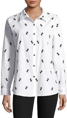 Karl Lagerfeld Paris Women's Embroidered Cotton Button-Down Shirt